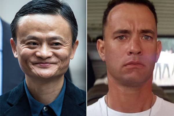 Jack Ma of Alibaba Group and Tom Hanks as Forrest Gump
