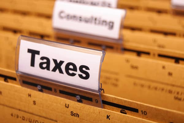 Business hanging folder labled Taxes