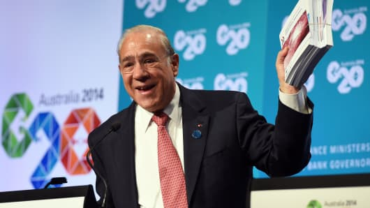 OECD Secretary-General Angel Gurria speaks during a press conference at the G-20 Finance Ministers and Central Bank Governors Meeting in Cairns on September 20, 2014.