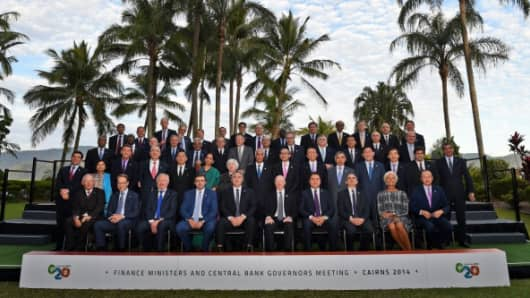 G-20 finance ministers and central bankers in Cairns, Australia.