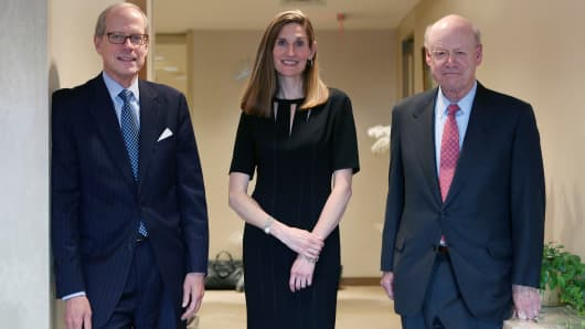 From left: Stephen Heintz, President of the Rockefeller Brothers Fund, Valerie Rockefeller Wayne, the chair of the fund, and Steven Rockefeller, a son of Nelson Rockefeller and a trustee of the fund, in New York, Sept. 16, 2014. The family whose legendary wealth flowed from Standard Oil is planning to announce on Monday that its $860 million philanthropic organization, is joining the divestment movement that began on college campuses.