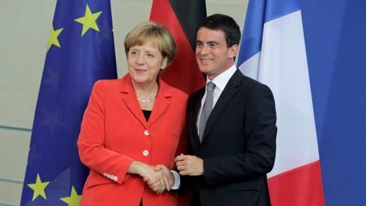 Merkel, Valls, Germany, France