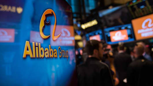 The Alibaba Group logo is shown at the New York Stock Exchange during the company's IPO, Sept. 19, 2014, in New York.