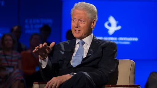 Former President Bill Clinton speaks with Becky Quick at the CGI 2014 annual meeting in New York.