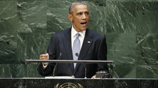 President Barack Obama addresses the 69th United Nations General Assembly at U.N. headquarters in New York, Sept 24, 2014.