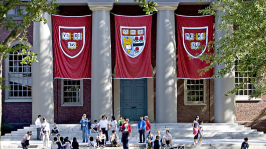 Banners hang outside Memorial Church on the Harvard University campus in Cambridge, Massachusetts.
