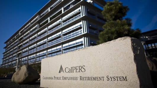 California Public Employees' Retirement System headquarters is shown in Sacramento, Calif.