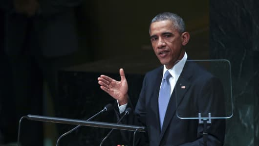 President Barack Obama speaks at the 69th United Nations General Assembly on Sept. 24, 2014.