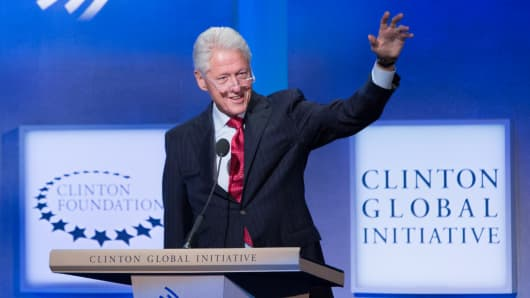 Former President Bill Clinton speaks at the CGI 2014 annual meeting in New York.