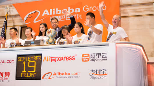 Alibaba Group rings the opening bell at the New York Stock Exchange on Sept. 19, 2014.