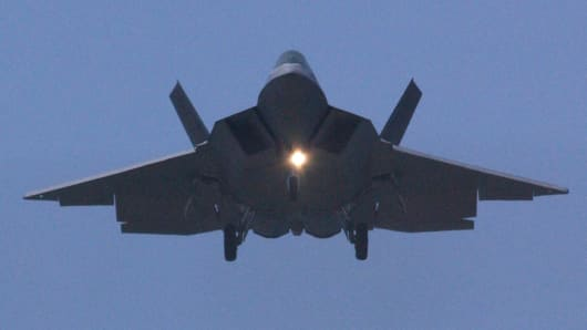 A file photo of an F-22 fighter jet