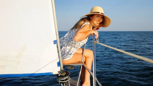 Wealthy woman on yacht