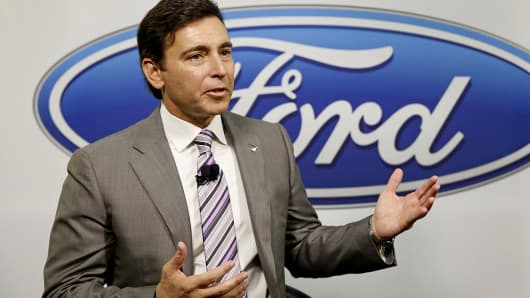 Ford CEO Mark Fields speaks at a news conference following presentations to investors in Dearborn, Mich., Sept. 29, 2014.
