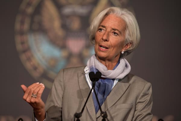 International Monetary Fund (IMF) Managing Director Christine Lagarde speaks at Georgetown University in Washington, on October 2, 2014.