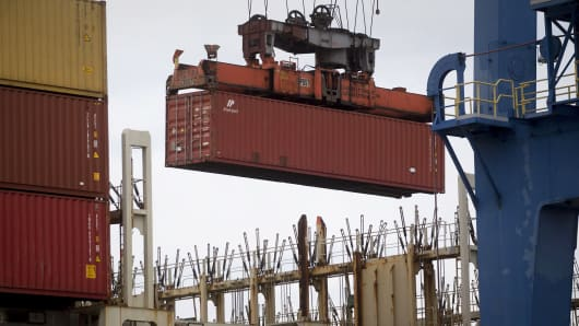 A container is loaded at the Port of Baltimore.