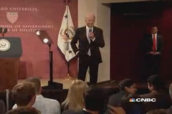 Joe Biden's foul-mouthed joke draws laughs at Harvard