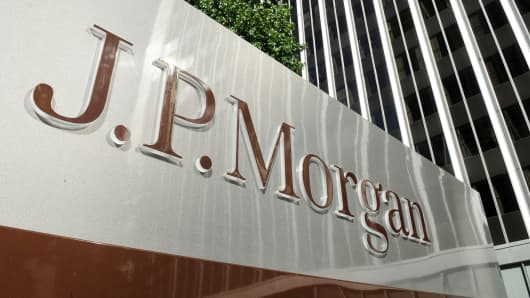 A JPMorgan sign outside the firm's Los Angeles, California offices.