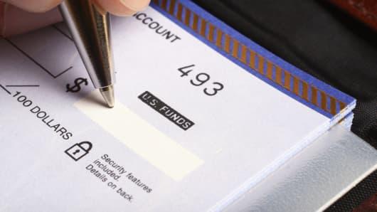 Writing a check charitable giving