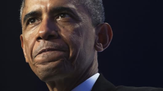 President Barack Obama speaking in Washington, October 2, 2014.