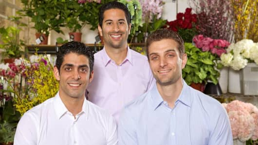 BloomNation.com co-founders: David Daneshgar, left, head of business development and sales, Farbod Shoraka, center, chief executive officer, and Gregg Weisstein, right, chief operating officer.