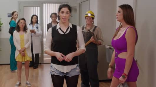 A scene from comedian Sarah Silverman's PSA to close the women's wage gap.
