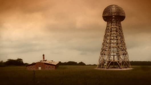 "A film still from the documentary ""Tower to the People"" shows how Nikola Tesla's Wardenclyffe lab may have looked on Long Island before his wireless transmission tower was torn down in 1917."