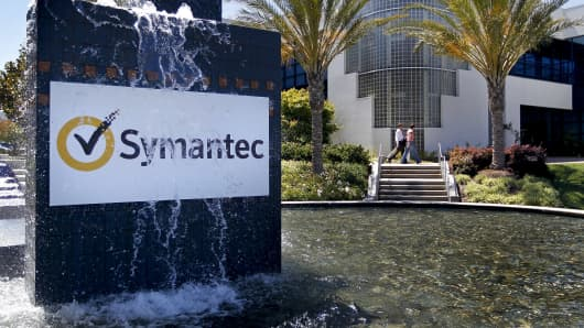 A fountain operates outside the headquarters building of Symantec Corp. in Mountain View, California