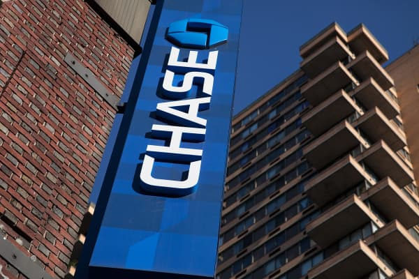 A sign over a Chase bank branch in New York.