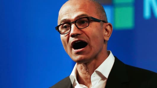 Microsoft Chief Executive Officer Satya Nadella addresses the media in New Delhi, September 30, 2014.