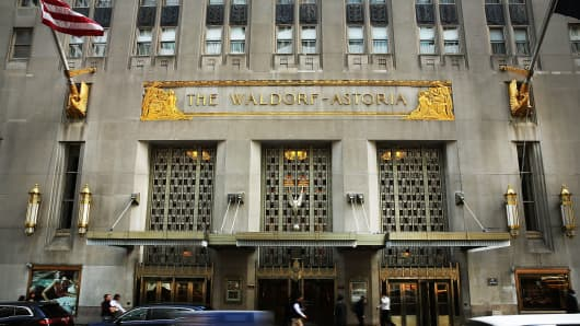 The Waldorf-Astoria in New York.