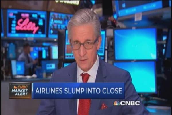 Airline stocks slump into close