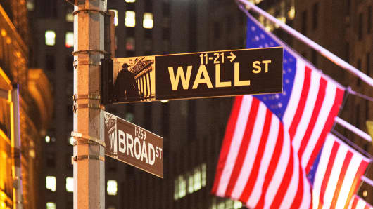 Wall Street New York Stock Exchange NYSE American Flags
