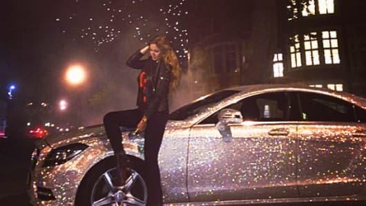Daria Radionova and her encrusted Mercedes CLS.