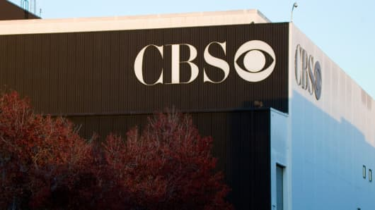 Signage on the CBS Television City building in Los Angeles.
