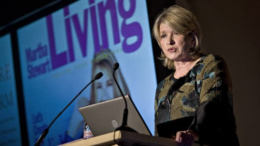 Martha Stewart speaks during the Women's Wear Daily Apparel/Retail CEO Summit in New York.