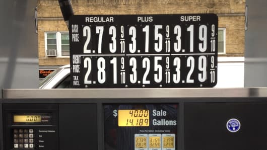 Gas prices at a station in New Jersey, October 15, 2014.