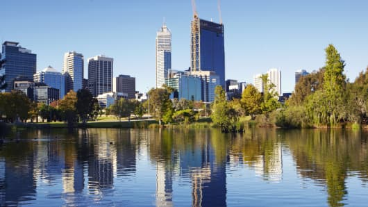 Skyline of Downtown Perth, Australia.