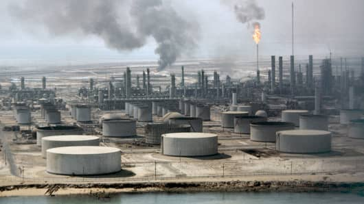 The Aramco oil refinery in Dahran, Saudi Arabia.