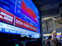 Dow Jones Industrial Average displayed on screen