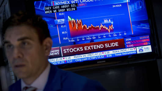 A trader works near a screen on the floor of the New York Stock Exchange, Oct. 16, 2014.