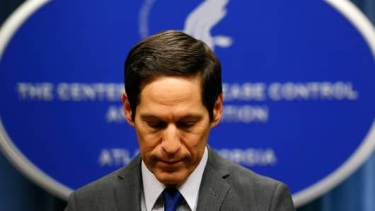 Director of the Centers for Disease Control and Prevention Tom Frieden addresses the media on Ebola in the U.S. at the Tom Harkin Global Communications Center on Oct. 5, 2014 in Atlanta.
