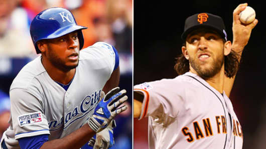 Lorenzo Cain of the Kansas City Royals and Madison Bumgarner of the San Francisco Giants