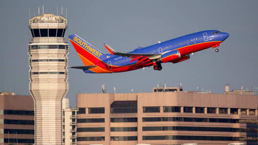 A Southwest Airlines airplane departs Ronald Reagan National Airport in Washington.