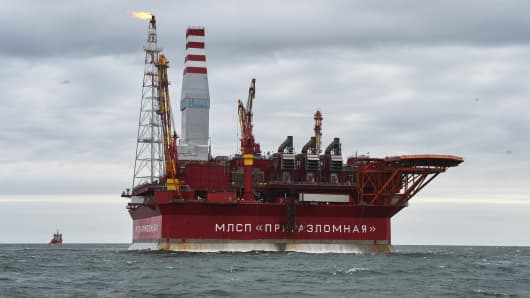 The Arctic oil rig 'Prirazlomnaya' in the Barents Sea owned by energy giant Gazprom, near Naryan Mar, Russia.