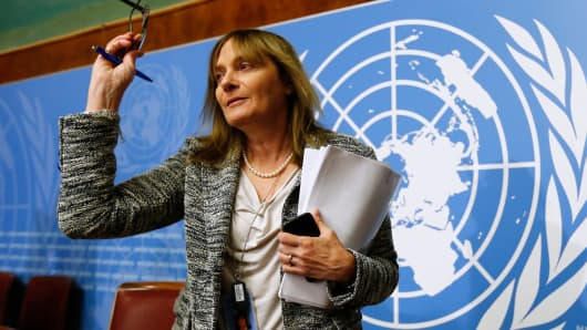 Marie Paule Kieny, World Health Organization assistant Director General for Health Systems and Innovation at a news conference on Ebola candidate vaccines, at the United Nations European headquarters in Geneva October 21, 2014.