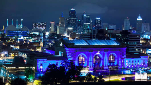 Union Station in Kansas City lit up in blue in support of the Royals.