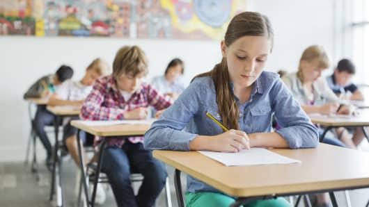 classroom, school, grade school, test