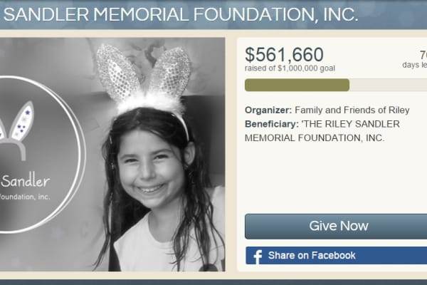 Riley Sandler Memorial Project, charitable crowdfunding