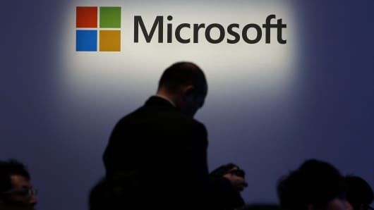 The Microsoft Corp. logo is displayed at a launch event for the company's Windows 8.1 operating system in Tokyo.