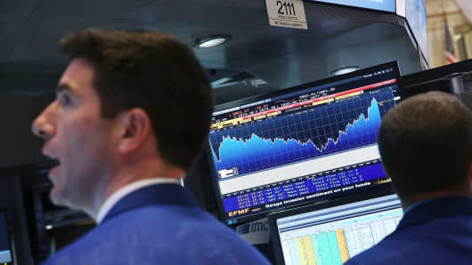 As fears from Ebola and a global slowdown spread, stocks plunged on October 15, with the Dow falling more than 400 points during the afternoon before recovering slightly.